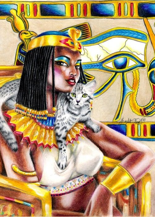 Egyptian Mau Greeting Card featuring the drawing Nubian Queen by Scarlett Royal