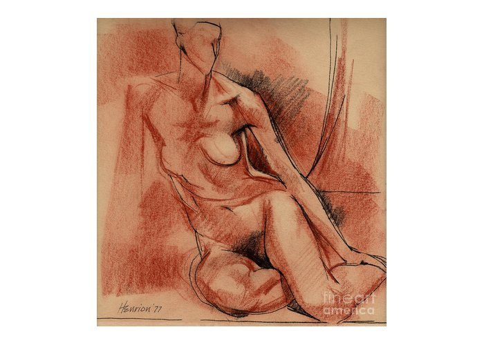 Female Nude Greeting Card featuring the drawing Nude 007 by Edward Henrion