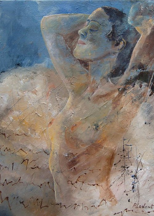 Nude Greeting Card featuring the painting Nude 0508 by Pol Ledent
