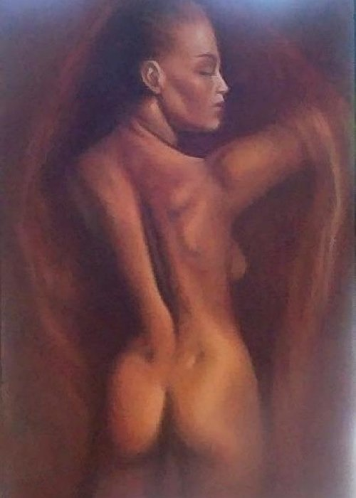Woman Greeting Card featuring the painting Nude 1 by Elizabeth Silk