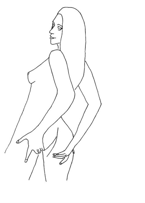 Nude Drawings Greeting Card featuring the drawing Nude 1 by Lloyd Bast