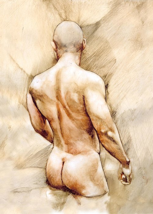 Man Greeting Card featuring the painting Nude 40 by Chris Lopez