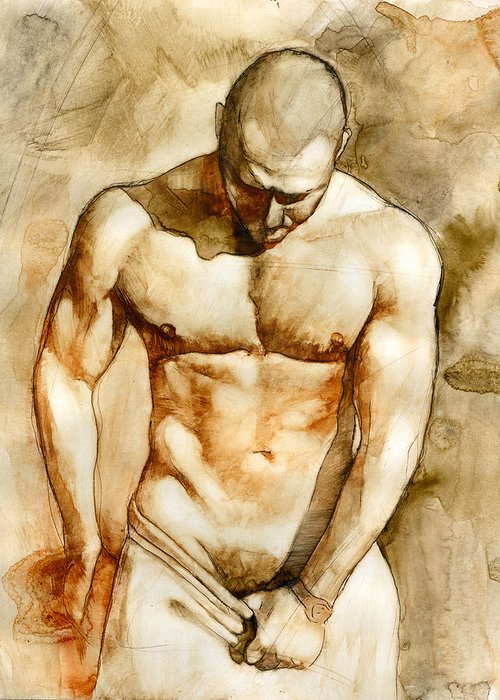 Male Nude Greeting Card featuring the painting Nude 43 by Chris Lopez