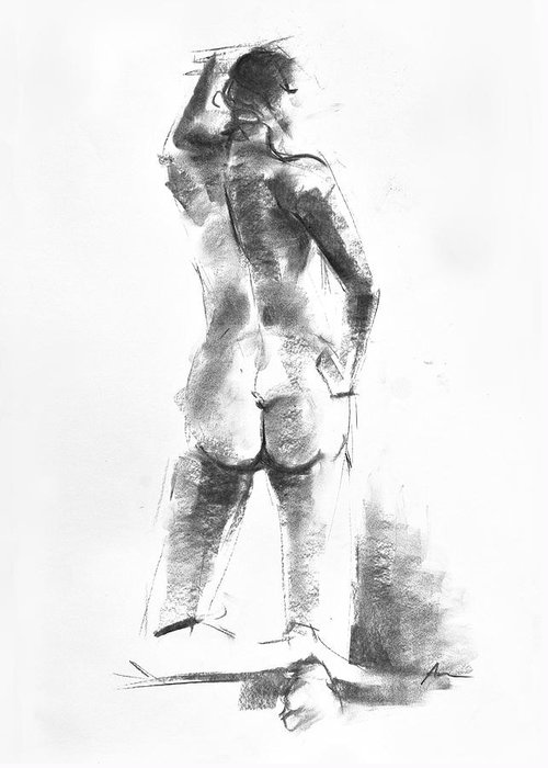 Nude Greeting Card featuring the drawing Nude 44 by Ani Gallery