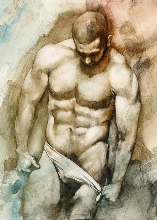 Male Greeting Card featuring the painting Nude 49 by Chris Lopez