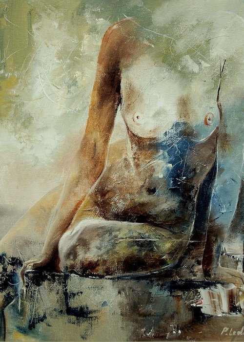 Nude Greeting Card featuring the painting Nude 560408 by Pol Ledent