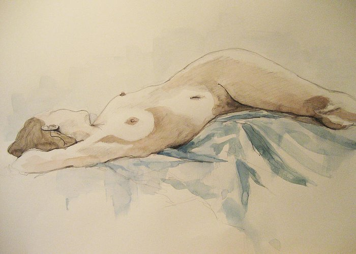 Nude Greeting Card featuring the painting Nude 9 by Victoria Heryet