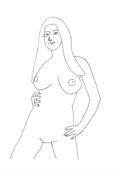 Nude Drawings Greeting Card featuring the drawing Nude 90 by Lloyd Bast