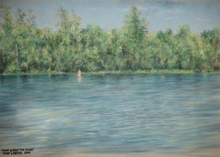 Nude Greeting Card featuring the pastel Nude Across The River by Larry Whitler