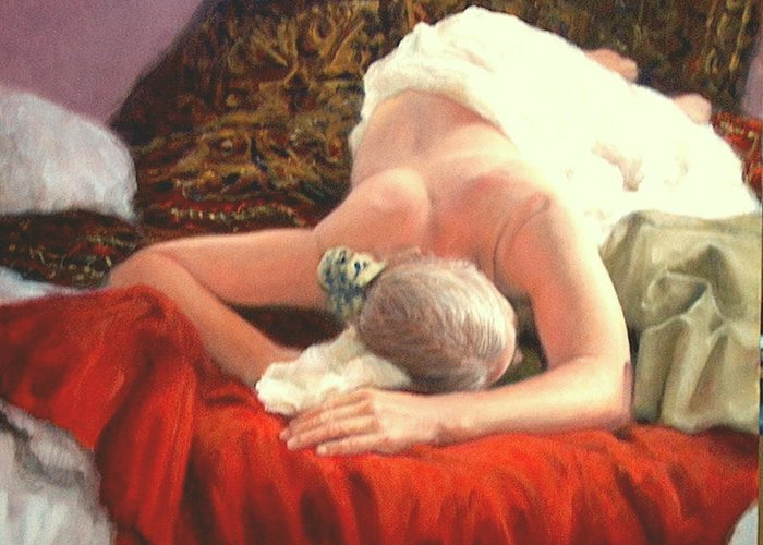 Realism Greeting Card featuring the painting Nude At Rest 1 by Donelli DiMaria