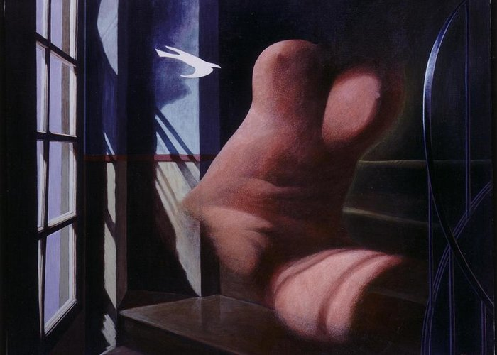 Window Greeting Card featuring the painting Nude Descending Staircase by James LeGros