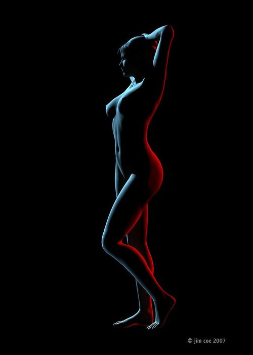 Jim Coe Greeting Card featuring the digital art Nude Edge Light 1 by Jim Coe