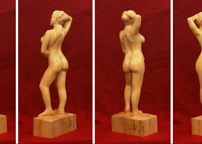 Nude Greeting Card featuring the sculpture Nude Female Impressionistic Wood Sculpture Donna by Mike Burton