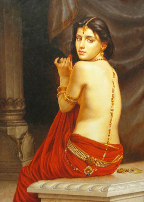 Nude Girl Lady Of Love Oil Painting On Canvas Ethnic Art India Greeting Card Featuring The