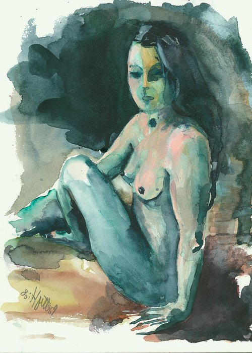 Nude Greeting Card featuring the painting Nude I by Elisabeta Hermann