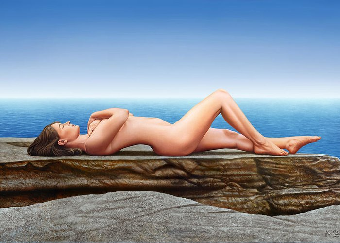 Nude Greeting Card featuring the painting Nude Lying on the Rocks by Horacio Cardozo