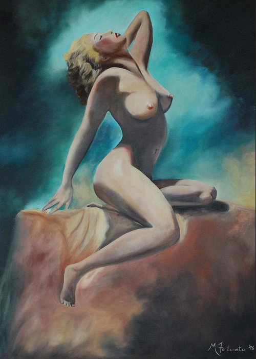 Nude Greeting Card featuring the painting Nude by Margaret Fortunato