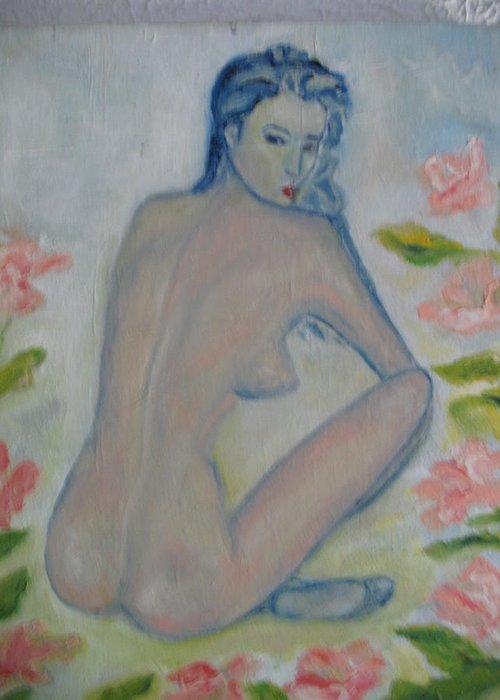 Maria Kolucheva Greeting Card featuring the painting Nude by Maria Kolucheva