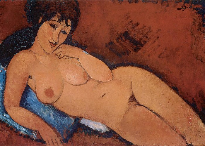 Amedeo Modigliani Greeting Card featuring the painting Nude On A Blue Cushion by Amedeo Modigliani