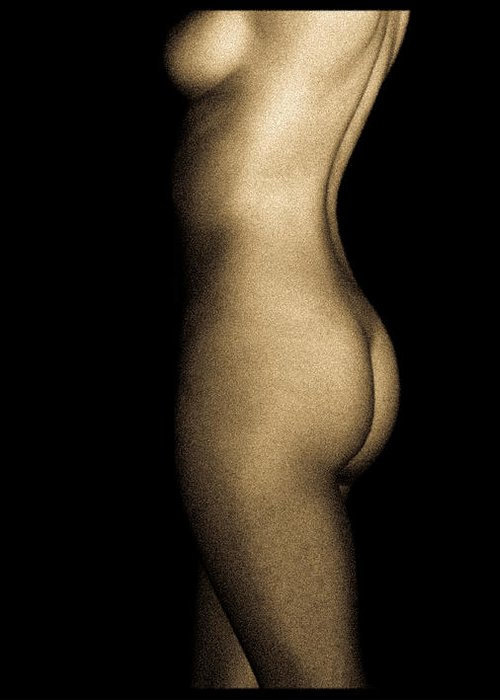 Person Greeting Card featuring the photograph Nude On Black by Bob Orsillo