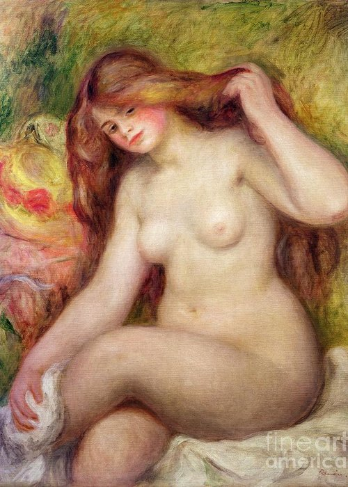 Nude Greeting Card featuring the painting Nude by Renoir