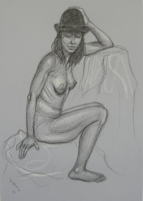 Realism Greeting Card featuring the drawing Nude With Hat 1 by Donelli DiMaria