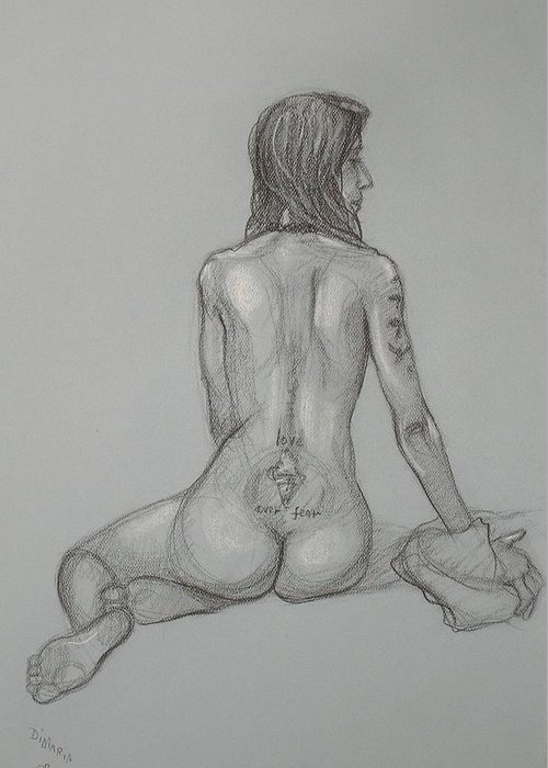 Realism Greeting Card featuring the drawing Nude With Tattoo 1 by Donelli DiMaria