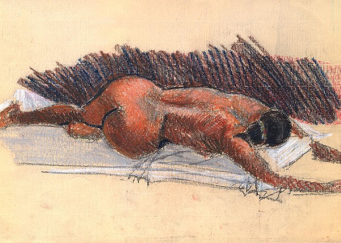 Woman Nude Life Drawing Pastel Paper Greeting Card featuring the drawing Nude Woman 09 by Nelson Caramico