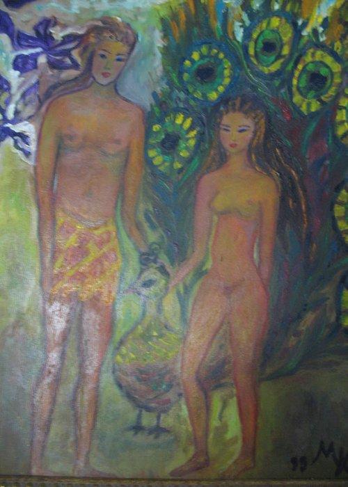 Maria Kolucheva Greeting Card featuring the painting Nudes Elation by Maria Kolucheva