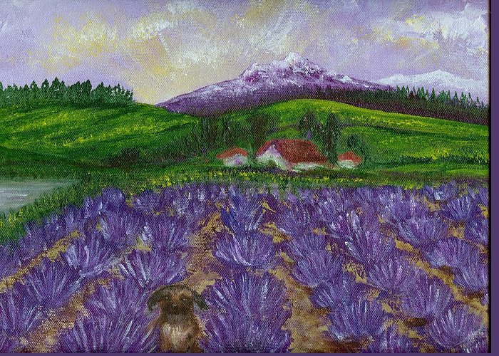 Sunrise Greeting Card featuring the painting Nui In Lavender Field by Laura Johnson