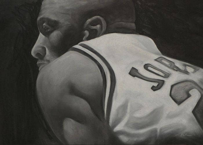 Michael Jordan Greeting Card featuring the drawing Number 23 by Adrian Pickett Jr