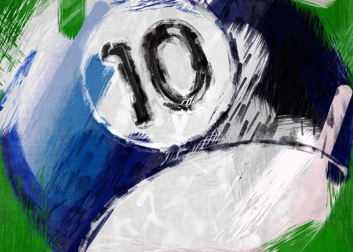 Ten Greeting Card featuring the photograph Number Ten Billiards Ball Abstract by David G Paul