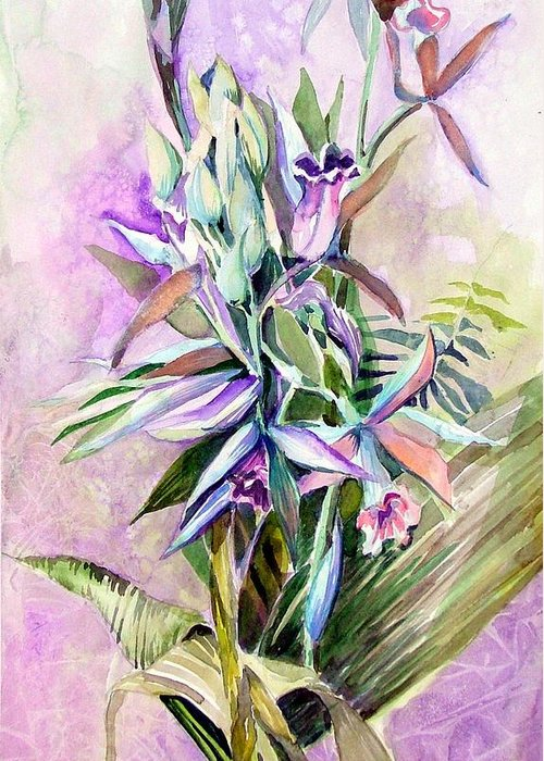 Orchid Greeting Card featuring the painting Nun's Hood by Mindy Newman