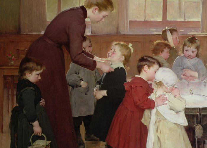 Nursery School Greeting Card featuring the painting Nursery School by Hneri Jules Jean Geoffroy