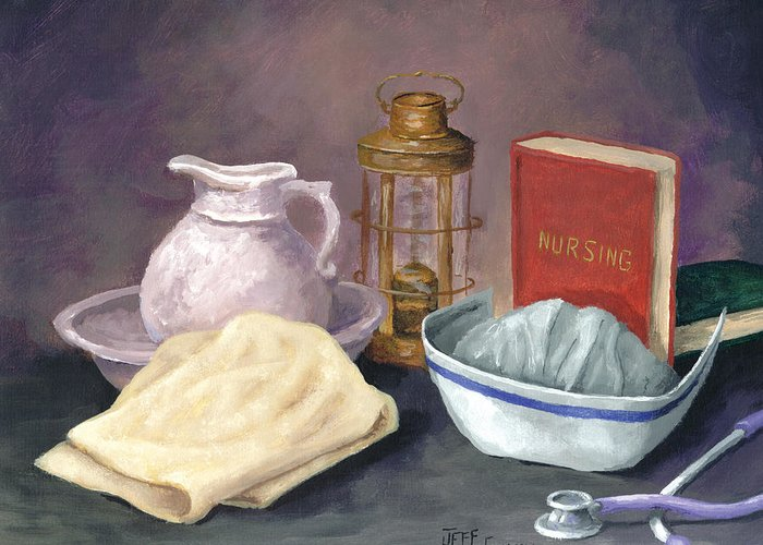 Nurse Greeting Card featuring the painting Nursing by Jeff Conway