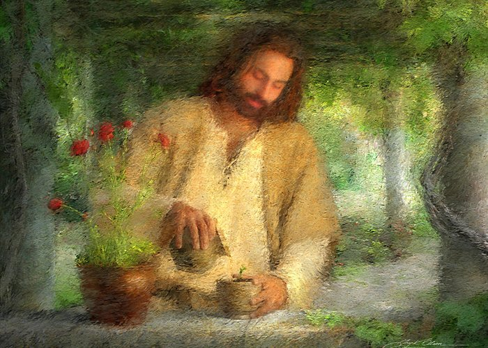 Jesus Greeting Card featuring the painting Nurtured By The Word by Greg Olsen
