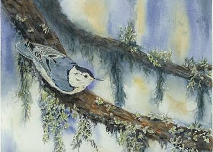 Nuthatch Greeting Card featuring the painting Nuthatch by Dolores Fegan