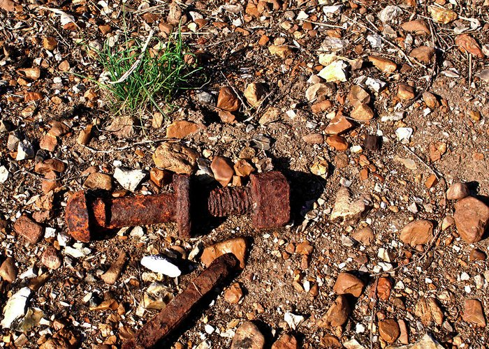 Rusted Greeting Card featuring the photograph Nuts And Bolts Rusted by Douglas Barnett