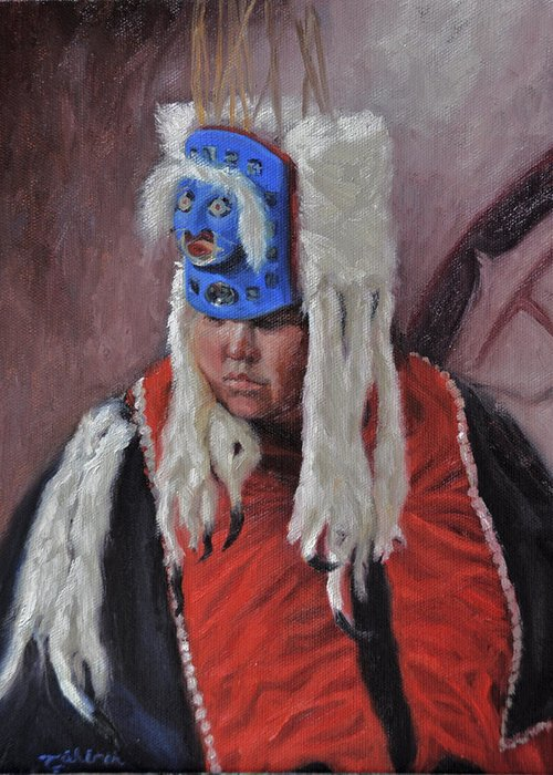 Native American Greeting Card featuring the painting Nuxalk Dancer by Tahirih Goffic