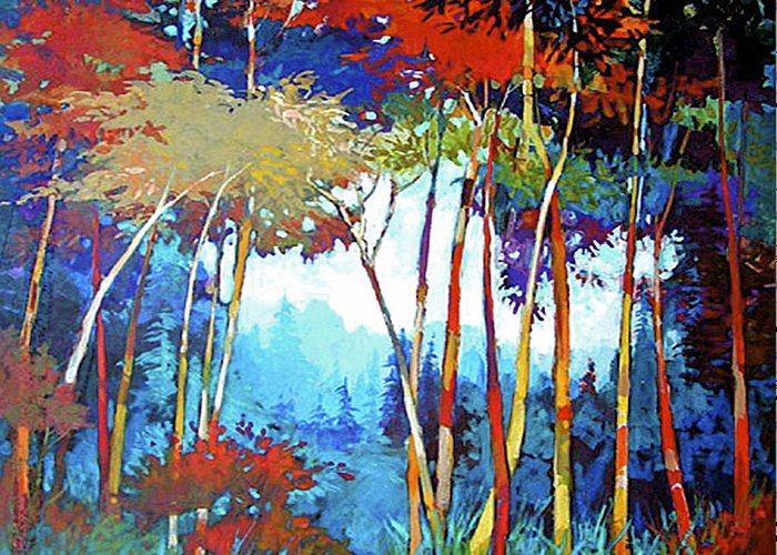 Stylized Greeting Card featuring the painting Nw Autumn by Dale Witherow
