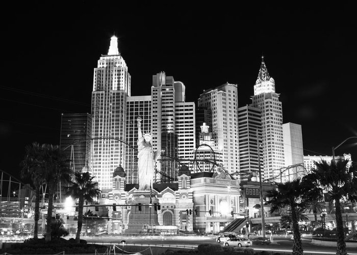 Vegas Greeting Card featuring the photograph Ny Ny In Bw by Rich Tanguay