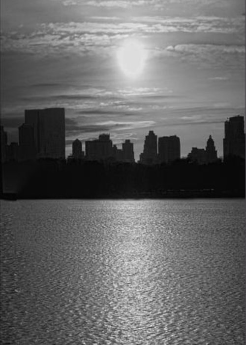 Black And White Greeting Card featuring the photograph Ny Panorama Vertical by Robert Ullmann