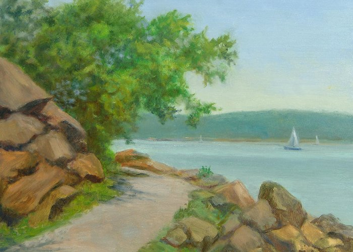 Oil Landscape Greeting Card featuring the painting Nyack Trail Along The Hudson by Phyllis Tarlow