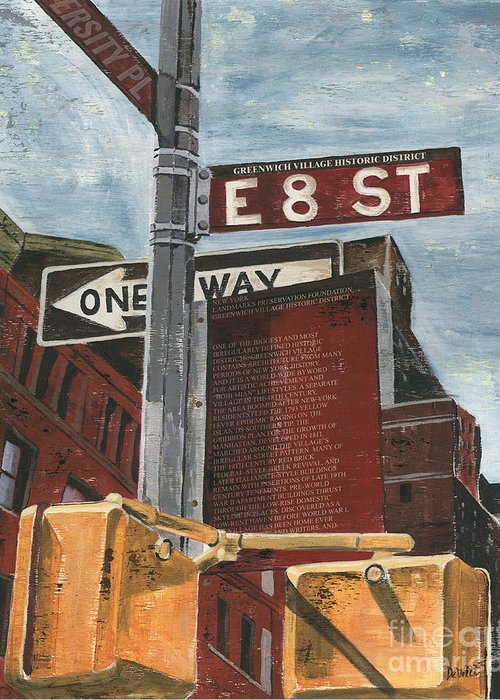 Nyc Greeting Card featuring the painting Nyc 8th Street by Debbie DeWitt