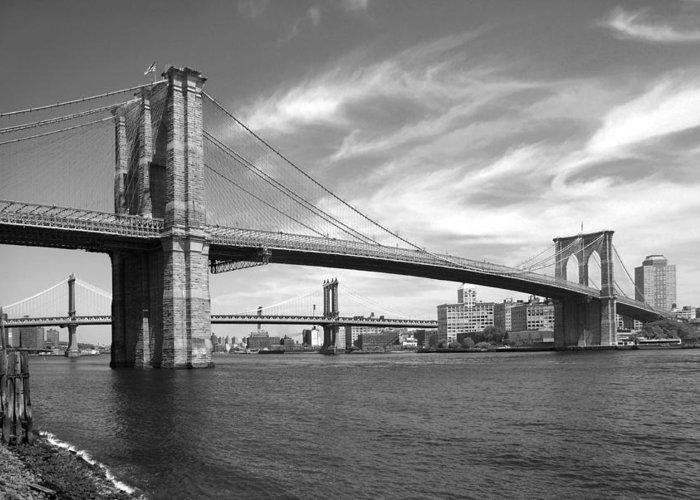 Bridge Greeting Card featuring the photograph Nyc Brooklyn Bridge by Mike McGlothlen