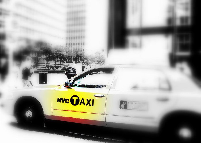 America Greeting Card featuring the photograph Nyc Cab by Funkpix Photo Hunter