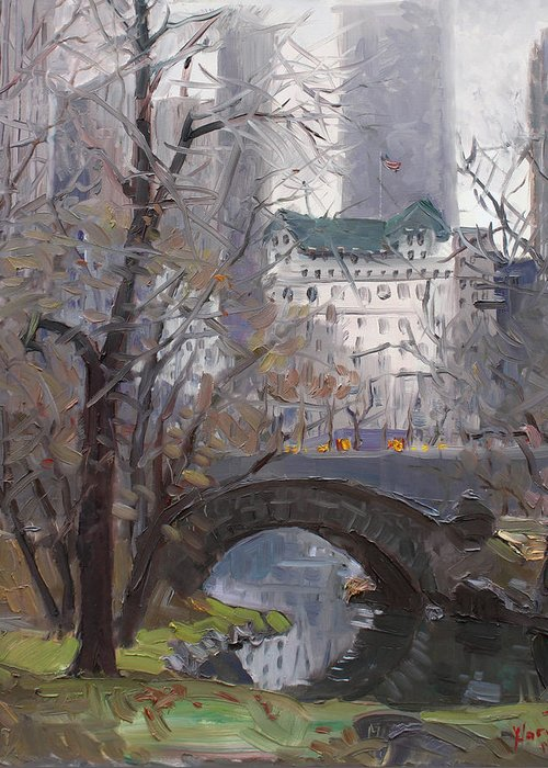 New York City Greeting Card featuring the painting Nyc Central Park by Ylli Haruni
