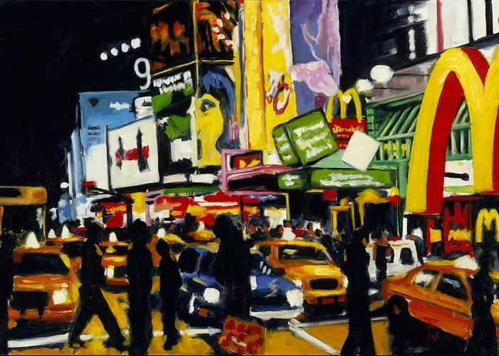 New York Greeting Card featuring the painting Nyc II The Temple Of M by Robert Reeves