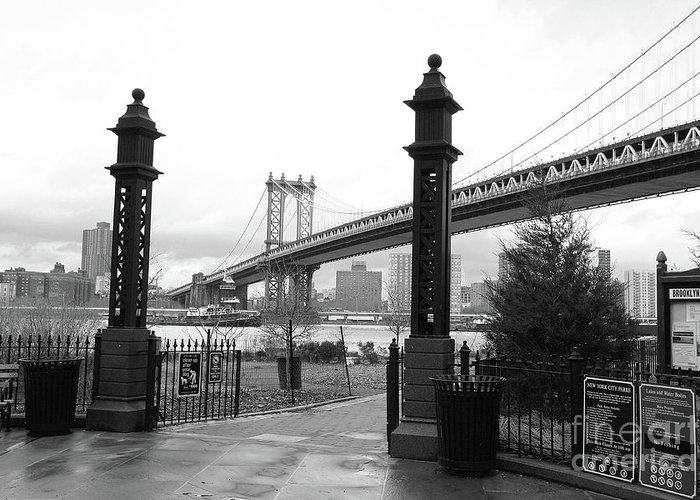 Nyc Greeting Card featuring the photograph Nyc Manhattan Bridge Bw by Chuck Kuhn
