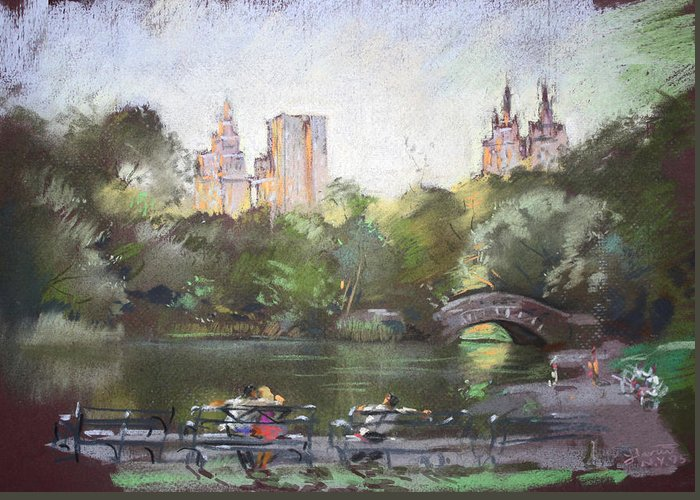 Ny City Greeting Card featuring the pastel Nyc Resting In Central Park by Ylli Haruni